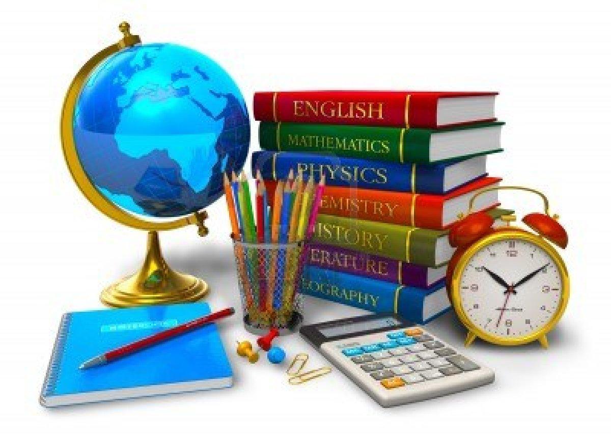 10311103-onderwijs-en-terug-naar-school-concept-stapel-studieboeken-desktop-wereld-rekenmachine-en-andere-sch